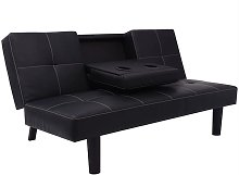 vidaXL Canapé-lit avec table déroulante en cuir