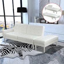 vidaXL Canapé-lit Cuir artificiel Blanc