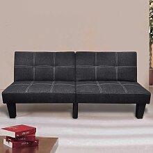 vidaXL Canapé-lit réglable Tissu Noir