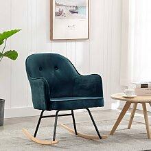 vidaXL Chaise à bascule Bleu Velours