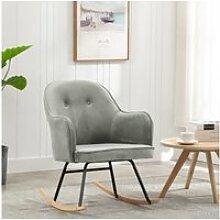 Vidaxl chaise à bascule gris velours 289519