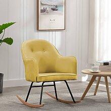 vidaXL Chaise à bascule Jaune moutarde Velours