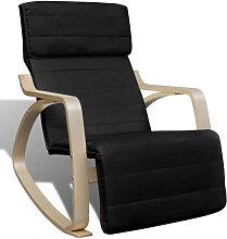 vidaXL Chaise à bascule Noir Bois cintré et tissu