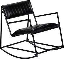 vidaXL Chaise à bascule Noir Cuir véritable