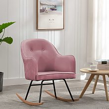 vidaXL Chaise à bascule Rose Velours