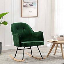 vidaXL Chaise à bascule Vert foncé Velours