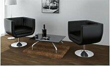 Vidaxl chaise de bar 2 pcs cuir artificiel noir