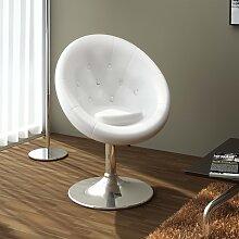 vidaXL Chaise de bar Blanc Similicuir