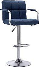 vidaXL Chaise de bar Bleu Tissu