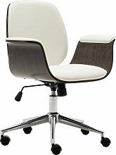 vidaXL Chaise de bureau Blanc Bois courbé et