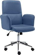 vidaXL Chaise de bureau Tissu Bleu