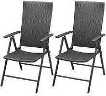 Vidaxl chaise de jardin 2 pcs résine tressée