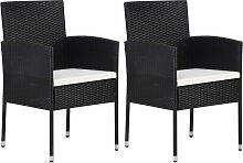 vidaXL Chaise de jardin 2 pcs Résine tressée Noir