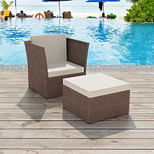 vidaXL Chaise de jardin avec tabouret Marron