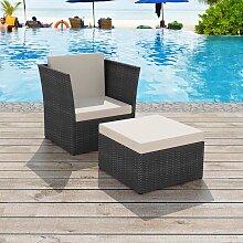 vidaXL Chaise de jardin avec tabouret Noir Résine