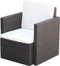 vidaXL Chaise de jardin et coussins et oreillers