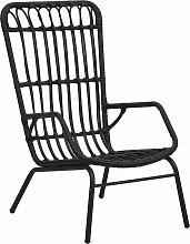 vidaXL Chaise de jardin Résine tressée Noir