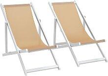 vidaXL Chaise de plage pliable 2pcs Aluminium et