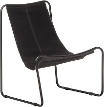 vidaXL Chaise de relaxation Noir Cuir véritable