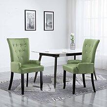 vidaXL Chaise de salle à manger et accoudoirs 2