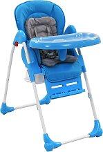 vidaXL Chaise haute pour bébé Bleu et gris