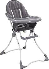 vidaXL Chaise haute pour bébé Gris et blanc