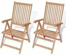 Vidaxl chaise inclinable de jardin 2 pièces bois