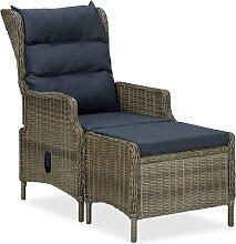vidaXL Chaise inclinable de jardin avec tabouret
