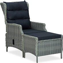 vidaXL Chaise inclinable de jardin tabouret