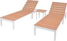 vidaXL Chaise longue 2 pcs avec table Aluminium et