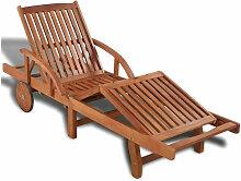 Vidaxl - Chaise longue à roulettes acacia massif