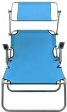 Vidaxl chaise longue avec auvent acier bleu 310336