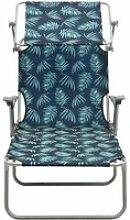 Vidaxl chaise longue avec auvent acier motif de
