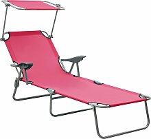 vidaXL Chaise longue avec auvent Acier Rose