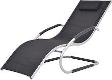 vidaXL Chaise longue avec oreiller Aluminium et