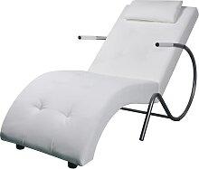 vidaXL Chaise longue avec oreiller Blanc Similicuir