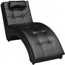 vidaXL Chaise longue avec oreiller Noir Similicuir