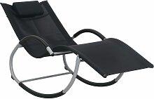 vidaXL Chaise longue avec oreiller Noir Textilène