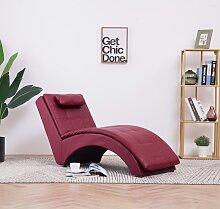 vidaXL Chaise longue avec oreiller Rouge bordeaux