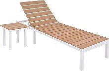 vidaXL Chaise longue avec table Aluminium WPC
