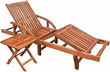 Vidaxl - Chaise longue avec table Bois