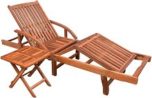 vidaXL Chaise longue avec table Bois d'acacia