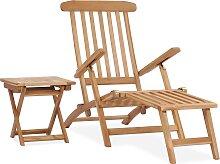vidaXL Chaise longue de jardin avec repose-pied et