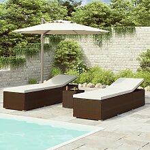 vidaXL Chaise longue de jardin table à thé 3pcs