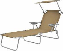 Vidaxl - Chaise longue pliable avec auvent Acier