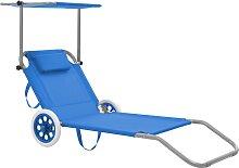 vidaXL Chaise longue pliable avec auvent et roues