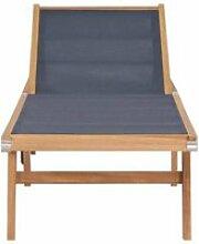 Vidaxl chaise longue pliable avec roulettes teck