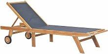 Vidaxl - Chaise longue pliable avec roulettes Teck