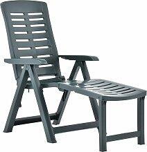 vidaXL Chaise longue pliable Plastique Vert
