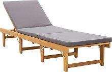 vidaXL Chaise longue pliante avec coussin Bois